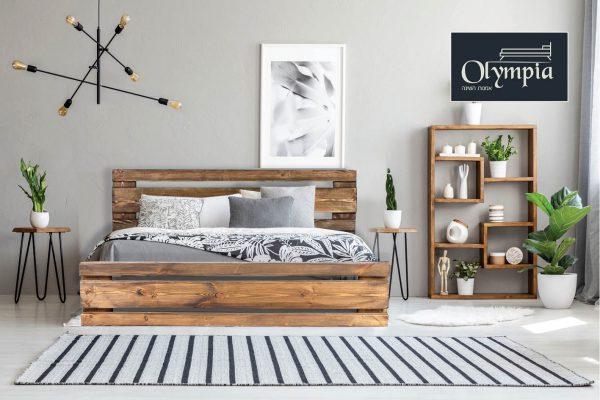 מיטה עשויה עץ אורן מלא חזק וטוב המשופר בצבע המיוחד לעץ האורן