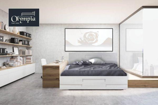 מיטה מלמין יצוק בסיס המיטה עץ מלא