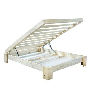 בסיס מיטה מעץ מלא + ארגז מצעים