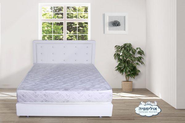 מיטה מרופדת + ארגז מצעים + דמוי עור עם מזרן קפיצים מתנה