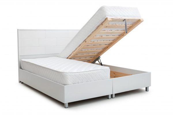 מיטה יהודית ללא מזרנים - מיטה זוגית מעוצבת מרופדת בדמוי עור