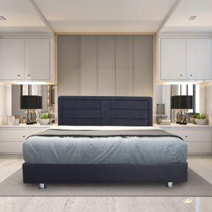מיטה עשויה עץ מרופדת בדמוי עור